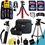 "Mega Pro 19 Piece Accessory Kit for Nikon Coolpix L840, L830, L820, L810, L620, L610, L330, L320, L310, L32, L31, L30, L28, L26, L24, L22, L20, L19 L120, L110, L105, L100 S30 Digital Cameras Includes 4 AA High Capacity 3100mAh Rechargeable Batteries with Quick AC/DC Charger + 32GB High Speed Memory Card + 12"" inch Highly Flexible Tripod + Well Padded Padded Case + Full Size Pro 50 Inch Tripod + Hand Held Monopod + Mini Table Tripod + Universal Card Reader + Memory Case Holder + Screen Protectors + Premium Cleaning Kit + Ultra Fine HeroFiber Cleaning Cloth"