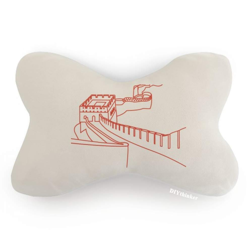 DIYthinker Red The Great Wall Pattern China Car Neck Pillow Headrest Support Cushion Pad
