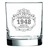 Whiskey Glass 70th Birthday Vintage 1948 Aged to Perfection Engraved • 11oz Rocks Glass • Great Gift for Father • Grandfather • Husband • Son • Friend
