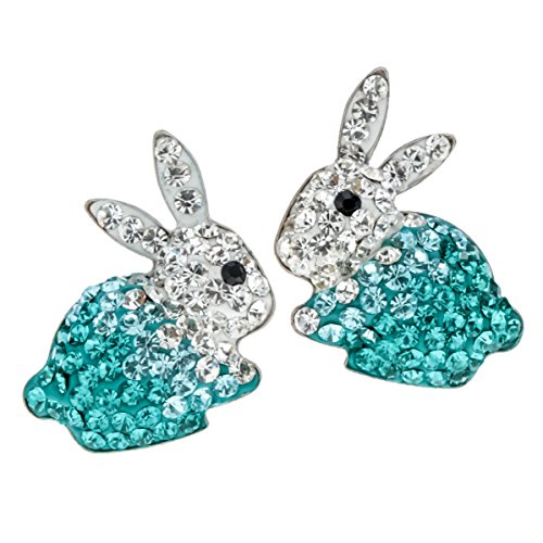 YACQ 925 Sterling Silver Crystal Bunny Stud Earrings Easter Custome Jewelry for Women Girls …