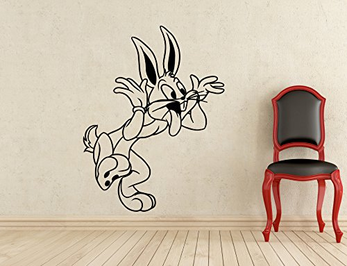 Bugs Bunny Wall Decal Looney Tunes Kids Cartoon Vinyl Sticker Nursery Room Interior Decoration Home Kids Room Art Design Removable Waterproof Mural (410z)
