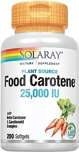 Solaray Food Carotene Capsules, 25000IU, 200 Count