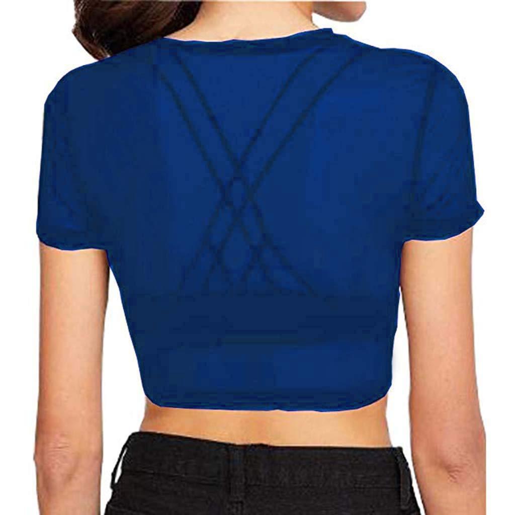 Womens Sheer Mesh See-Through Short Sleeve Crop Tops Casual T Shirt