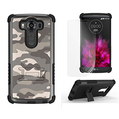 LG V10 Case, V10 Case, Beyond Cell® Tri Shield [Dirtproof]High Impact Armor Hybrid Hard+Soft Rugged 3 Layer Protection Case with built in kickstand- Sand Camouflage-FREE Screen - Custom Tri Suits
