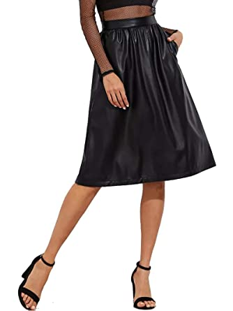 c196814e5 JOAUR Women's PU Leather Midi Skirt Pleated High Waist Skate Skirt with  Pockets at Amazon Women's Clothing store: