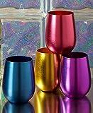 Set of 4 Retro Aluminum Wine Glasses