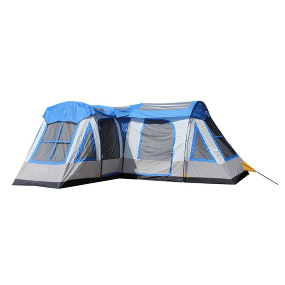 Gateway 12-Person Deluxe Cabin Family Camping Tent, Blue and Gray With Ebook