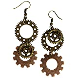 Adeley Womens Steampunk Gear Cog Mismatched Brass Charm Dangle Earrings