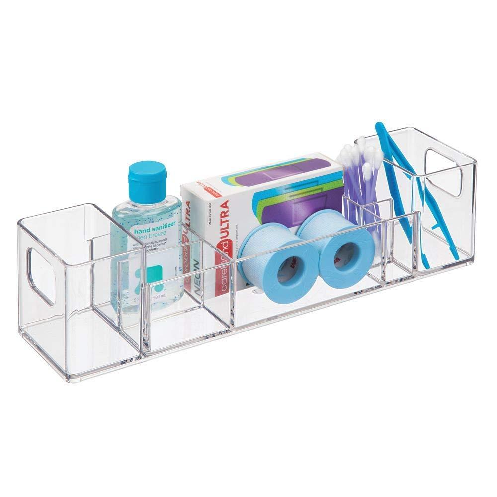 iDesign Clarity 12'' Bathroom Vanity Countertop Multi Level Organizer for Cosmetics, Makeup, Vitamins, Medicine - Clear by iDesign