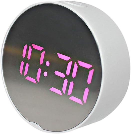Digital LED Desk Clocks Bedside Alarm Clock Display White Frame Pink Light