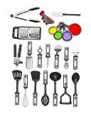 25-Piece Cooking Utensils Set, Kitchen Utensil Tools & Gadgets, Stainless Steel & Nylon, All-Purpose Cooking Utensils, Dishwasher Safe