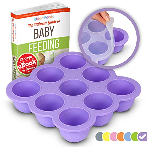 Kiddo Feedo Baby Food Storage and Freezer Tray with Silicone Clip-on Lid - 9x2.5oz Portions with 1oz/2oz Volume Measurements - Free eBook by Award-Winning Author/Dietitian - Purple
