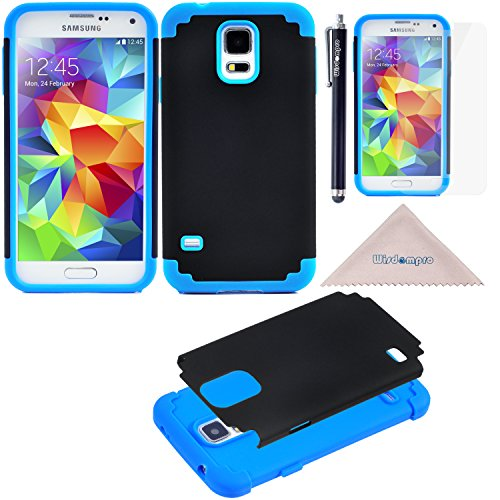 S5 Case, Wisdompro [2 Piece in 1] Heavy Duty Hybrid Protective 2-Layer Case (Dual Hard External Shell and Soft Internal Silicon Protection Inlay) for Samsung Galaxy S5 (Blue /Black)