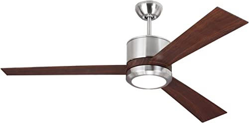 Monte Carlo 3VNR52BSD-V1 Vision Modern 52 Ceiling Fan with LED Light and 2 in 1 Wall Hand Remote Control, 3 ABS Blades, Brushed Steel