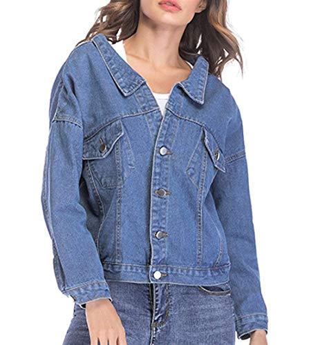 Fidanzato Outwear Festa Cappotto Jeans Stile Tempo Donna Ragazze Blau Giacca Libero Style Moda Primaverile Coat Relaxed Base Elegante Autunno Manica Bavero Lunga Awq7a8