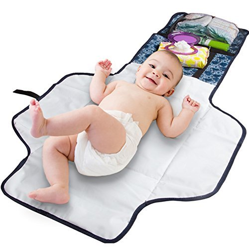 Waterproof Portable Travel Change Mat Maddie Moo Baby Diaper Changing Pad with Zip Pocket and Head Rest