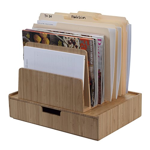 Bamboo Desktop File Folder Organizer, 7 - Slot w/Drawer Combo Storage for Office Supplies & Stationary Items