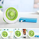 Desktop Mini Fan, Portable Circular Mini Rechargeable Cooling Fan Office USB Portable Desk Small Fan Battery Natural Wind 1200mA 3 Speed Adjustable Electric Fans for Home, Office and Travel(Green)