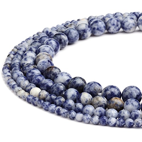 - RUBYCA Wholesale Natural Blue Spot Gemstone Round Loose Beads for DIY Jewelry Making 1 Strand - 8mm
