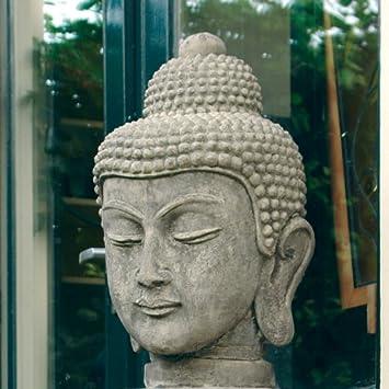 Large Garden Sculptures   Stone Buddha Head Statue