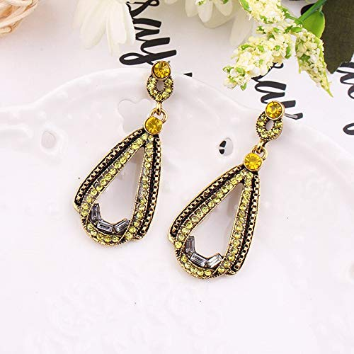 Colorful Crystal Stone Inlaid Anti Gold Metal Lace Chain Dangle Earrings | Exaggerated Women Party Jewelry