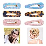 Acrylic Resin Hair Clips, Playmont 6pcs Acetate Hair Clip Marble Pattern Duckbill Clamps Leopard Barrettes Colorful Alloy Alligator Hair Clips Side Bangs DIY Hairpins Hair Accessories For Girls Women