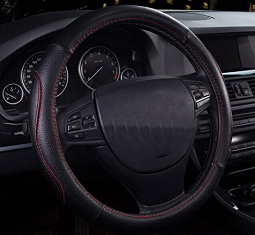 Fasmov Leather Steering Wheel Cover,Black