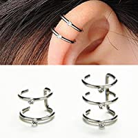 Sumanee 2/3 Row Helix Ear Cuff Cartilage Clip-on Wrap Earring No Piercing Jewelry Pop TO (2 Row)
