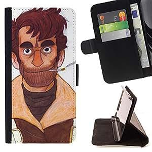BullDog Case - FOR/Samsung Galaxy Note 4 IV / - / MAN PORTRAIT ART CIGARETTE BEARD BROWN SMOKE /- Monedero de cuero de la PU Llevar cubierta de la caja con el ID Credit Card Slots Flip funda de cuer