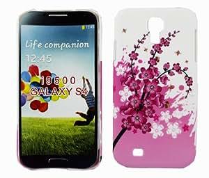 Kit Me Out ES ® Carcasa plástico + Cargador para coche + Protector de pantalla con gamuza de microfibra para Samsung Galaxy S4 i9500 - Rosa Flores