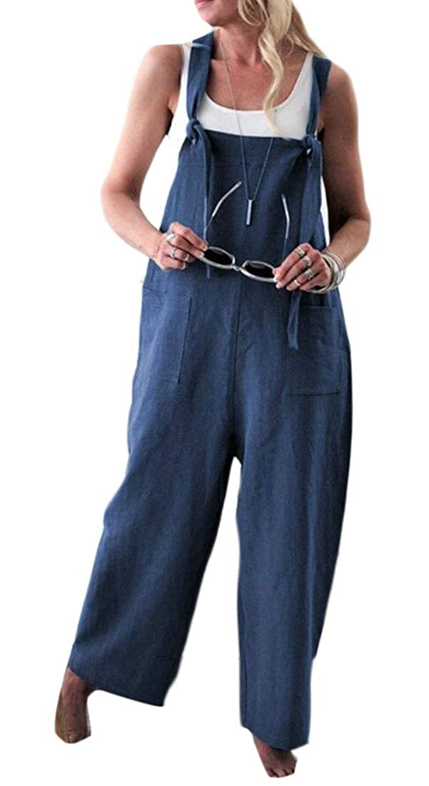Qiangjinjiu Women Casual Wide Leg Pants Rompers Jumpsuit Haren Baggy Overalls