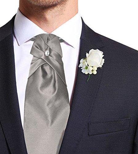 Remo Sartori Made in Italy Men's Solid Wedding Cravat Ascot Tie PreTied, Adjustable ()