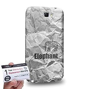 Case88 [Samsung Galaxy Note 2] 3D impresa Carcasa/Funda dura para & Tarjeta de garantía - Art Hand Drawing A4 Paper Texture Hipster Elephant