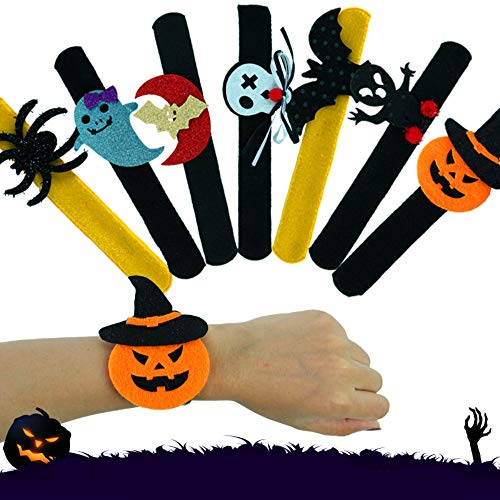 7 Piece Halloween Slap Bracelet Party Decor Pat Circle Hand Ring Pumpkin Bat Ghost Skull Spider Monster
