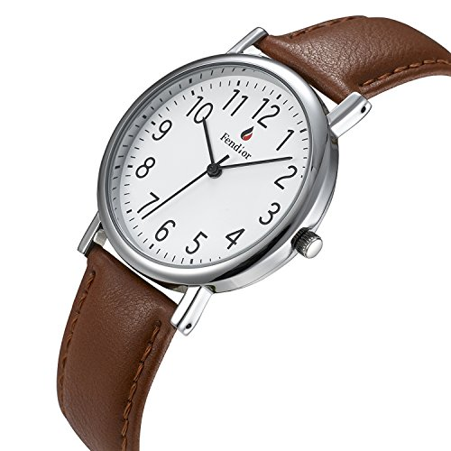 AIBI Women's Watch on Sale Big Face Easy to Read Clearance Light Brown Leather Strap 3ATM Waterproof Digital Display Watch