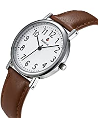 Women's Watch on Sale Big Face Easy to Read Clearance Light Brown Leather Strap 3ATM Waterproof Digital Display Watch