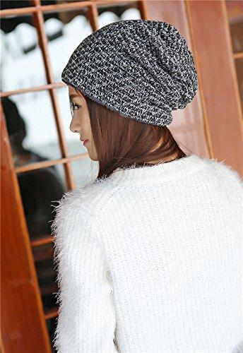 Heather Beanie caliente Unisex Hat negro Slouchy Cap BaronHong terciopelo Skully 1SRx74wwq
