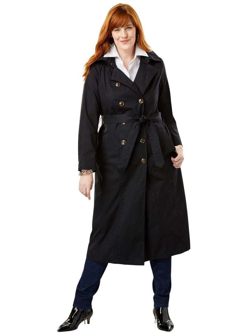 Jessica London Women's Plus Size Double Breasted Long Trench Coat Black,18 W