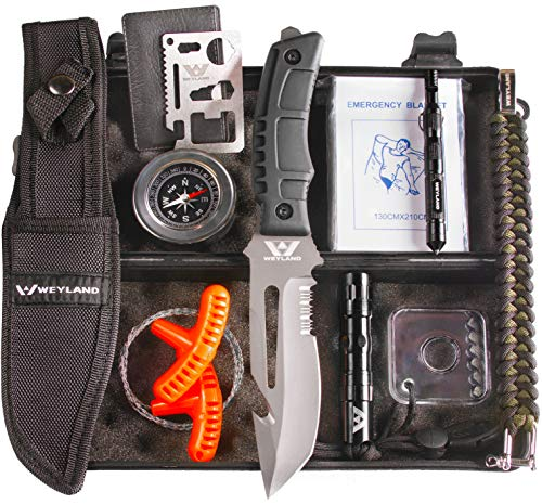 Weyland Outdoors Emergency Survival Kit - Outdoor Survival Gear for Hiking, Hunting, Camping, or EDC with a Tactical Survival Knife, Compass, Flashlight, Preparedness Tools and Essential Equipment