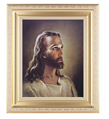 Sallman Head of Christ Print in a Fine Detailed Scrollwork Satin Gold Frame Italian Lithograph Under Glass