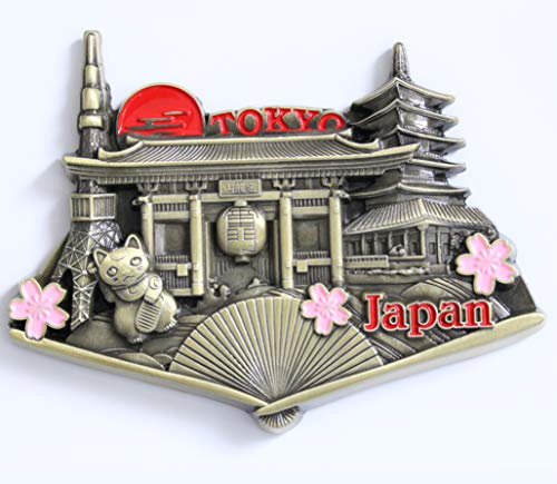(Japan Tokyo Metal Fridge Magnet Unique Design Home Kitchen Decorative Travel Holiday Souvenir Gift, Stick Up Your Lists Photos on Refrigerator)
