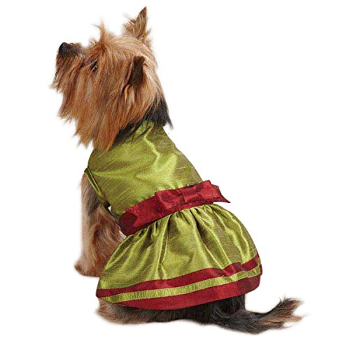 East Side Collection Polyester Holiday Shimmer Dog Dress, XX-Small, Green