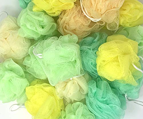 Loofah Lord 20 Assorted Greens and Yellows Bath or Shower Sponge Loofahs Pouf Mesh Colors Wholesale Bulk Lot