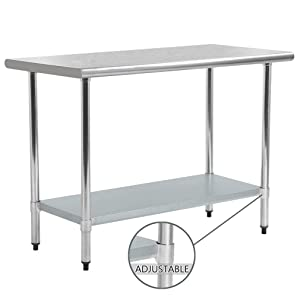 Kitchen Work Table Food Prep Table Stainless Steel NSF Commercial Worktable with Adjustable Shelf, 24 X 60 Inches, Scratch Resistant Heavy Duty Metal Work Table for Garage Restaurant Kitchen