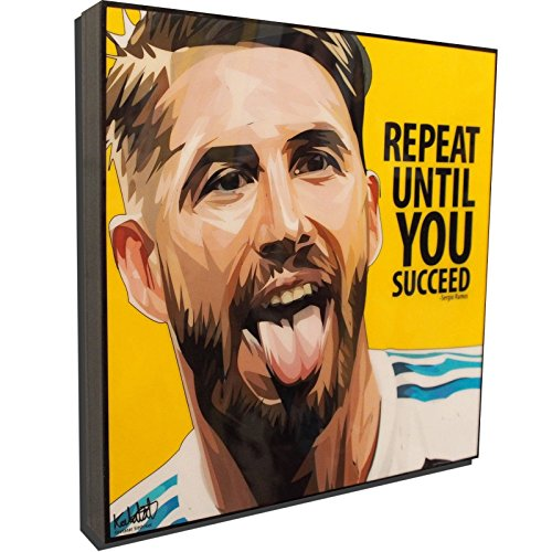 (Sergio Ramos Real Madrid Football Soccer Poster POP ART canvas Quotes wall decals framed)