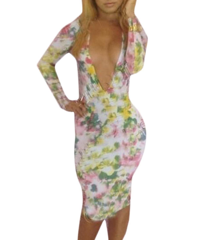 Generic Womens Sexy Deep V Neck Backless Bodycon Nightclub Dress