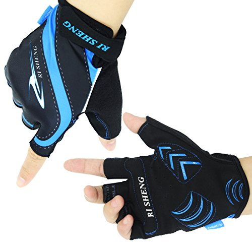 Cycling Gloves Men's Women's Mountain Bike Gloves Half Finger Bicycle Riding Gloves s Shock-absorbing Gel Pad Breathable Cycle Gloves Biking Gloves (Blue, M)