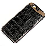 Fine Crocodile Alligator Lettered Pattern Leather Metal Frame Protective Case Handmade for Apple iPhone 8 Plus / 6s / 6s Plus / 7 / 7 Plus Black
