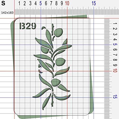 Pochoir olive Provence feuille 140x180 mm