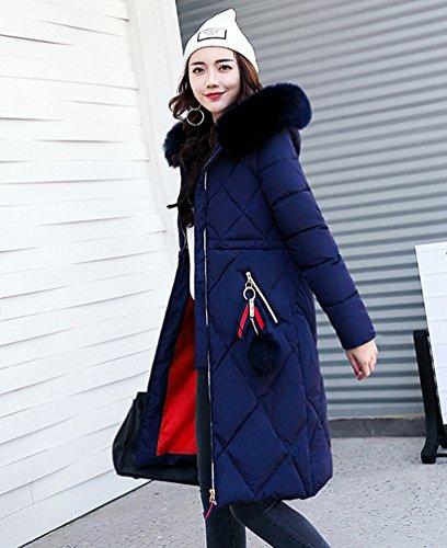 Emballage Plus À Épais Wanyang Capuche Veste Femme Facile Foncé Longues Bleu Manches Manteau qvzwYEC
